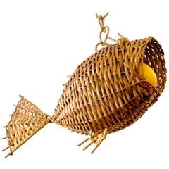 Vintage Fish Shaped Wicker Hanging Fruit Basket
