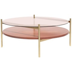 Contemporary Duotone Coffee Table, Brass Base, Rose Glass, Rust Mosaic