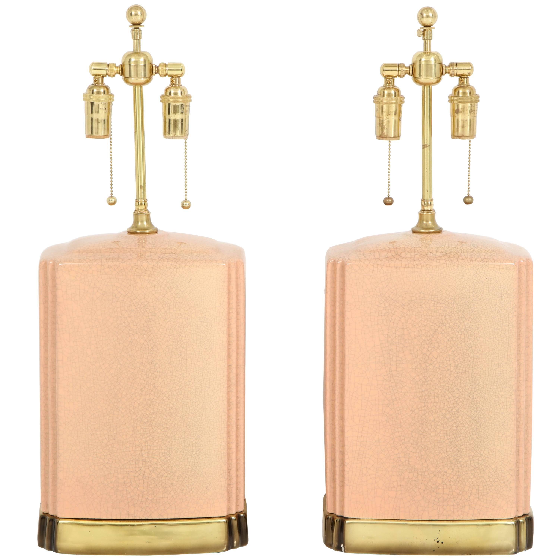Pair of Crackle Glazed Ceramic Lamps