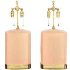 Pair of Crackle Glazed Ceramic Lamps