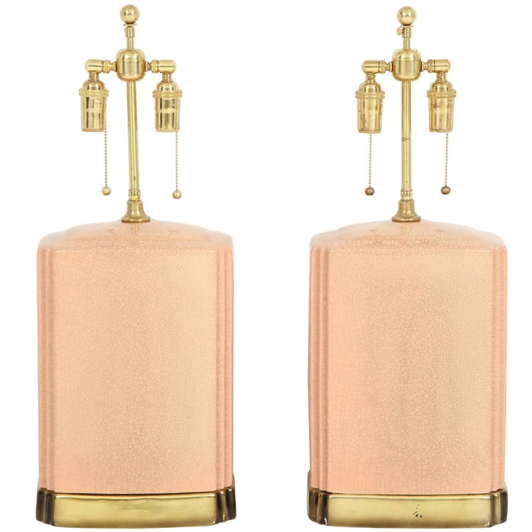 Pair of Crackle Glazed Ceramic Lamps For Sale