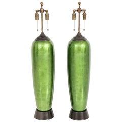 Pair of Large Ceramic Leafed Lamps