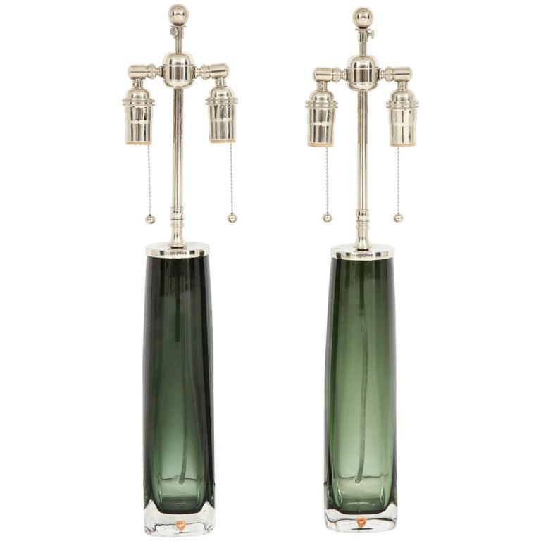 Forest Green Crystal Lamps by Orrefors