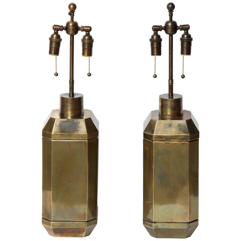 Pair of Brass Lamps by Chapman
