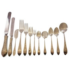 Colonial B Engraved by Whiting Sterling Silver Flatware Set 74 pcs Banquet Size