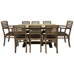 Heals Limed Oak Tilden Dining Table with Eight matching Chairs & matching Mirror