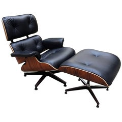 Lounge Chair Charles Eames and Ottoman, Black