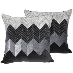 Pair of Grey Cheveron Pillows
