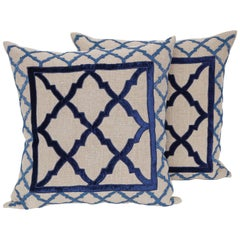 Pair of Linen Pillows with Bead and Velvet Trim