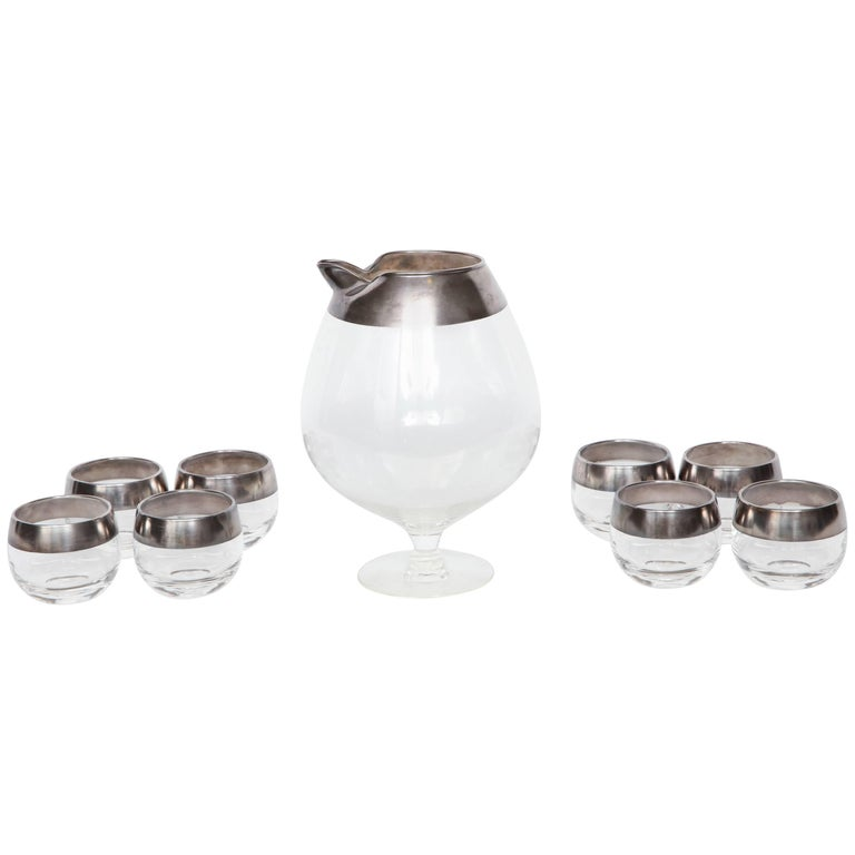 4804c2ef3eb Dorothy Thorpe Sterling Silver Rimmed Cocktail Set For Sale. Mid-Century ...