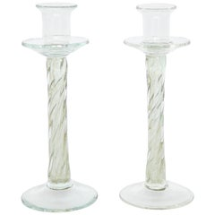 Coiled Murano Glass Candlesticks