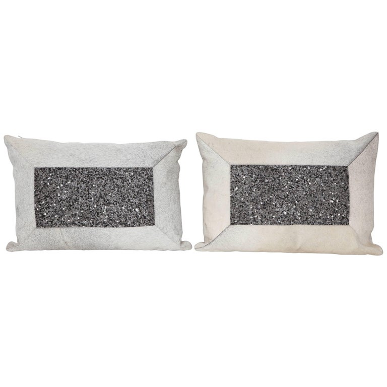 Pair of White Brindle Hide and Bead Pillows