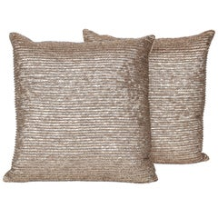 Pair of Bronze Metal Leaves Embellished Pillows