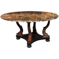 Italian Empire Style Marble-Top Centre Table with Breche d'Alpes Marble