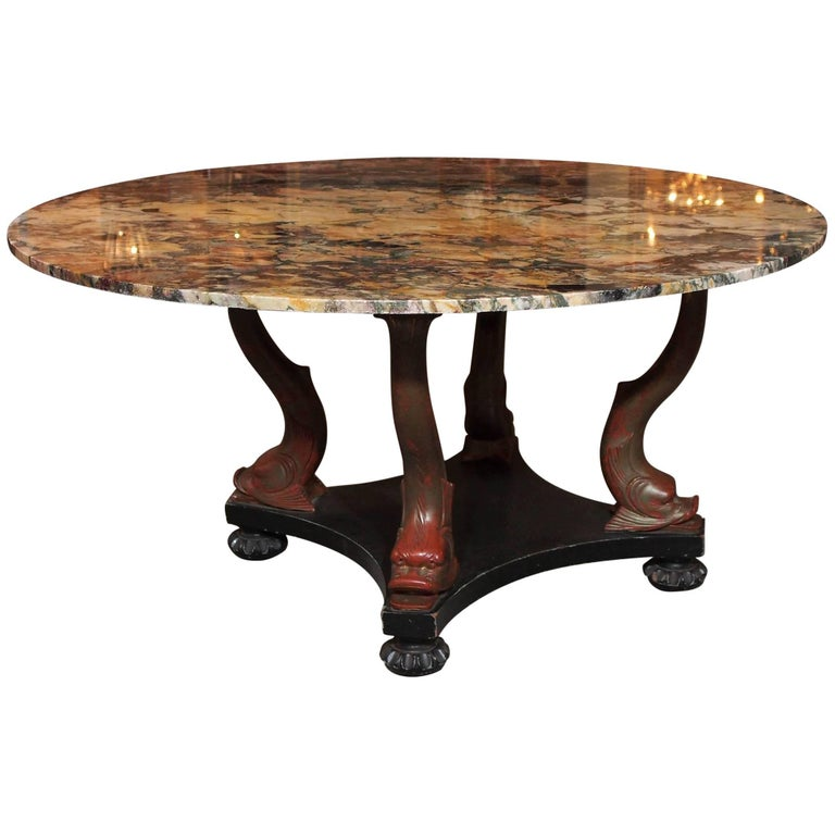 Italian Empire Style Marble-Top Centre Table with Breche d'Alpes Marble 1
