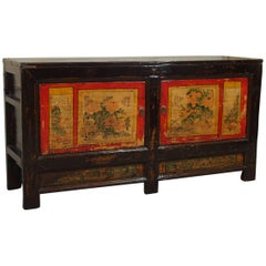 Antique Chinese Black Lacquer Rice Cabinet, circa 1915