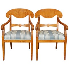 Pair of Antique Swedish Biedermeier Satin Birch Armchairs