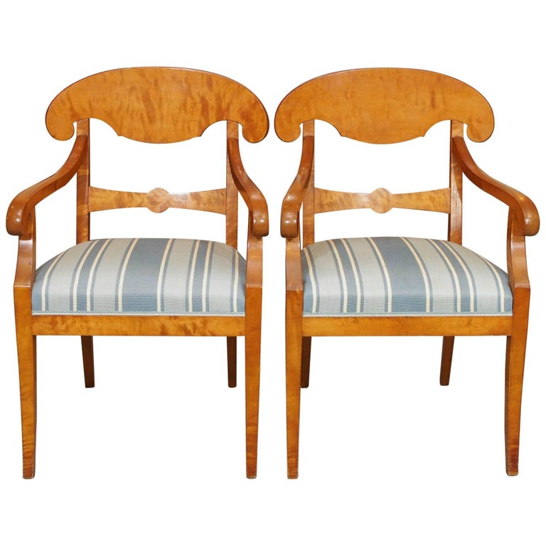 Pair of Antique Swedish Biedermeier Satin Birch Armchairs For Sale