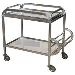 French Art Deco Aluminum Drinks Trolley with Removable Tray-Style of Adnet