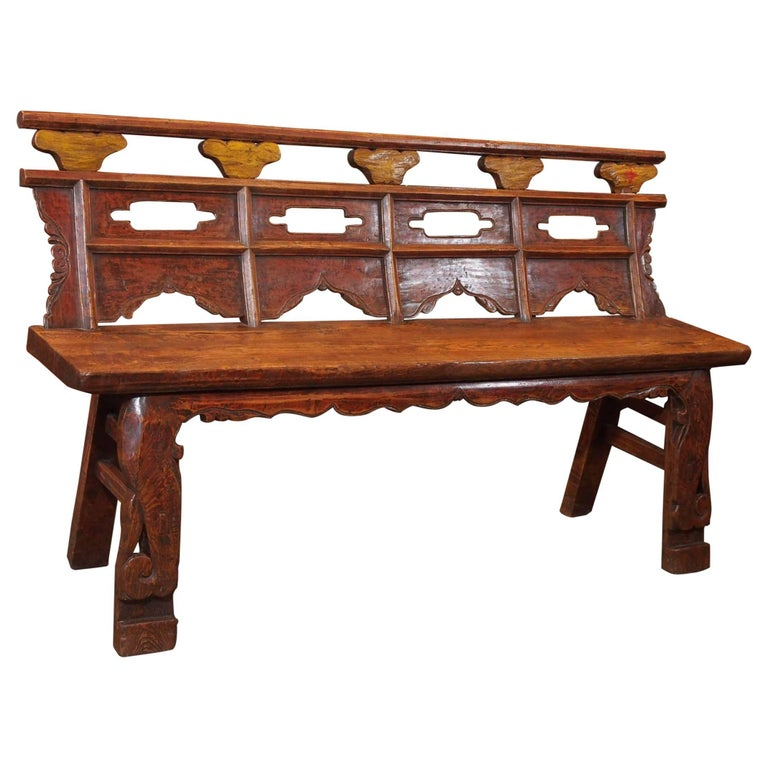 Antique Chinese Shanxi Province Painted Elm Bench, circa 1860 1