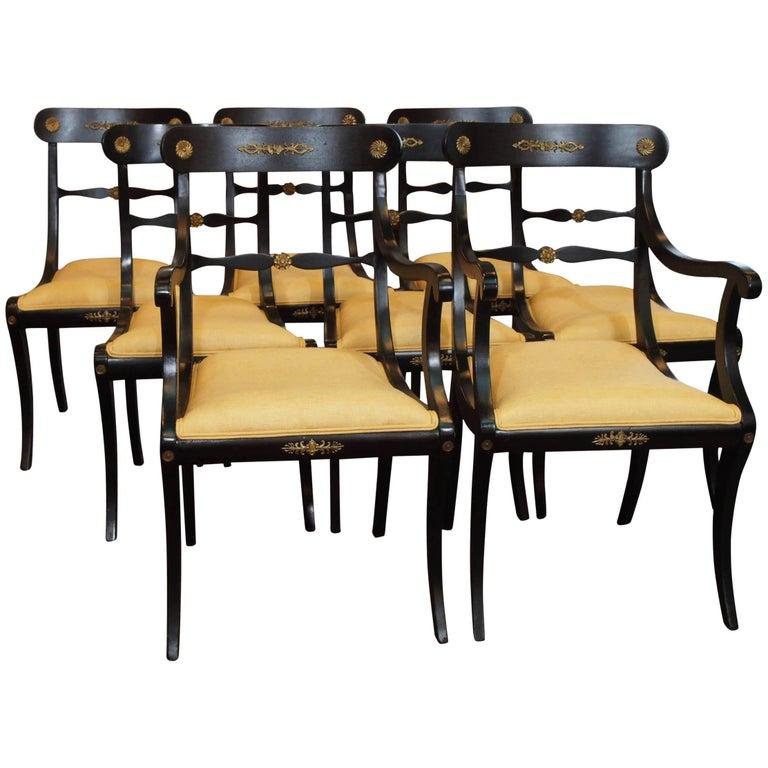 Set of Eight Ebonized Dining Chairs, Regency Style, circa 1920 1