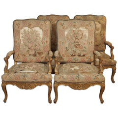 Set of Four Antique French Giltwood Armchairs with Aubusson Tapestry