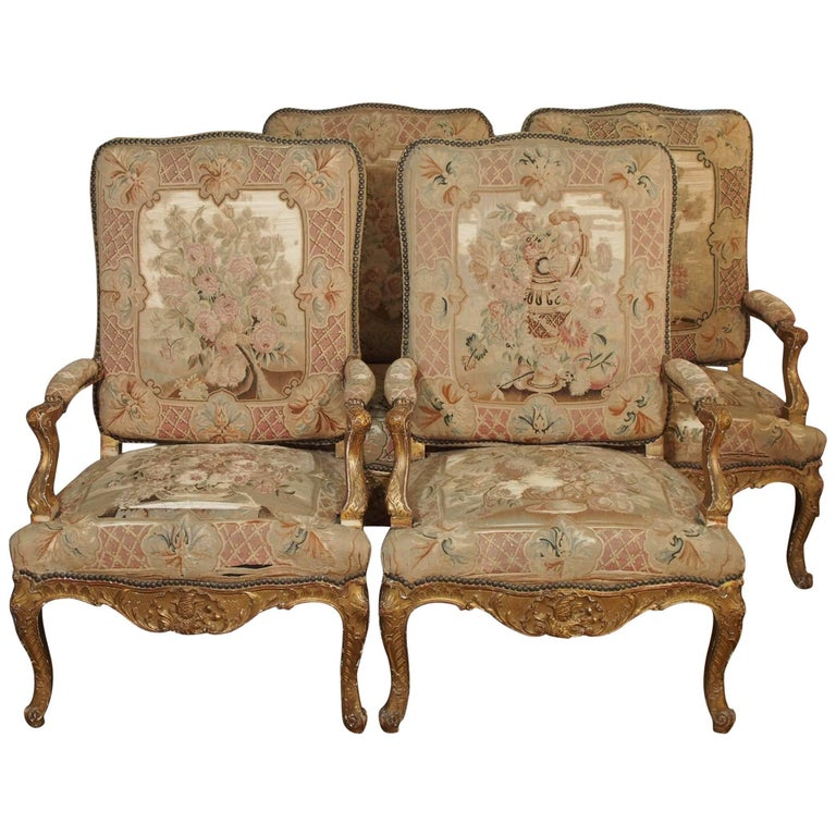 Set of Four Antique French Giltwood Armchairs with Aubusson Tapestry  For Sale