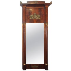 Antique French Empire Mahogany Pier Mirror