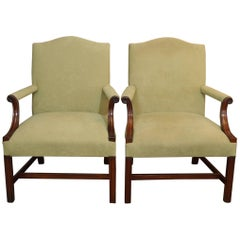 Pair of Antique English Mahogany Upholstered Gainsborough Chairs, circa 1880