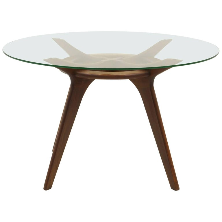 Round Glass Top Dining Table by Adrian Pearsall for Craft Associates