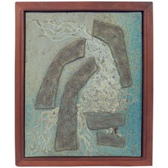 Large Abstract Ceramic Tile Plaque by Lee Rosen for Design Technics