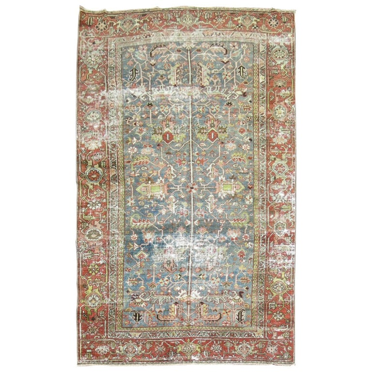 Shabby Chic Persian Heriz Rug For Sale