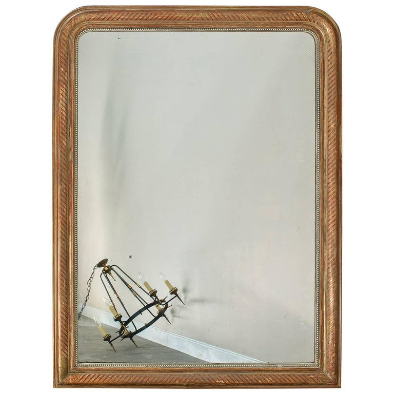 Large Louis Philippe Antique French Gold Leaf Mirror, circa 1880 For Sale