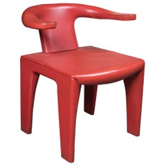 "Unusual Modernist  Red Leather ""Horse Shoe"" Chair"