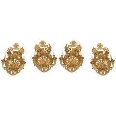 Fine Set of Four Important Late 19th Century Gilt Bronze Five-Light Sconces