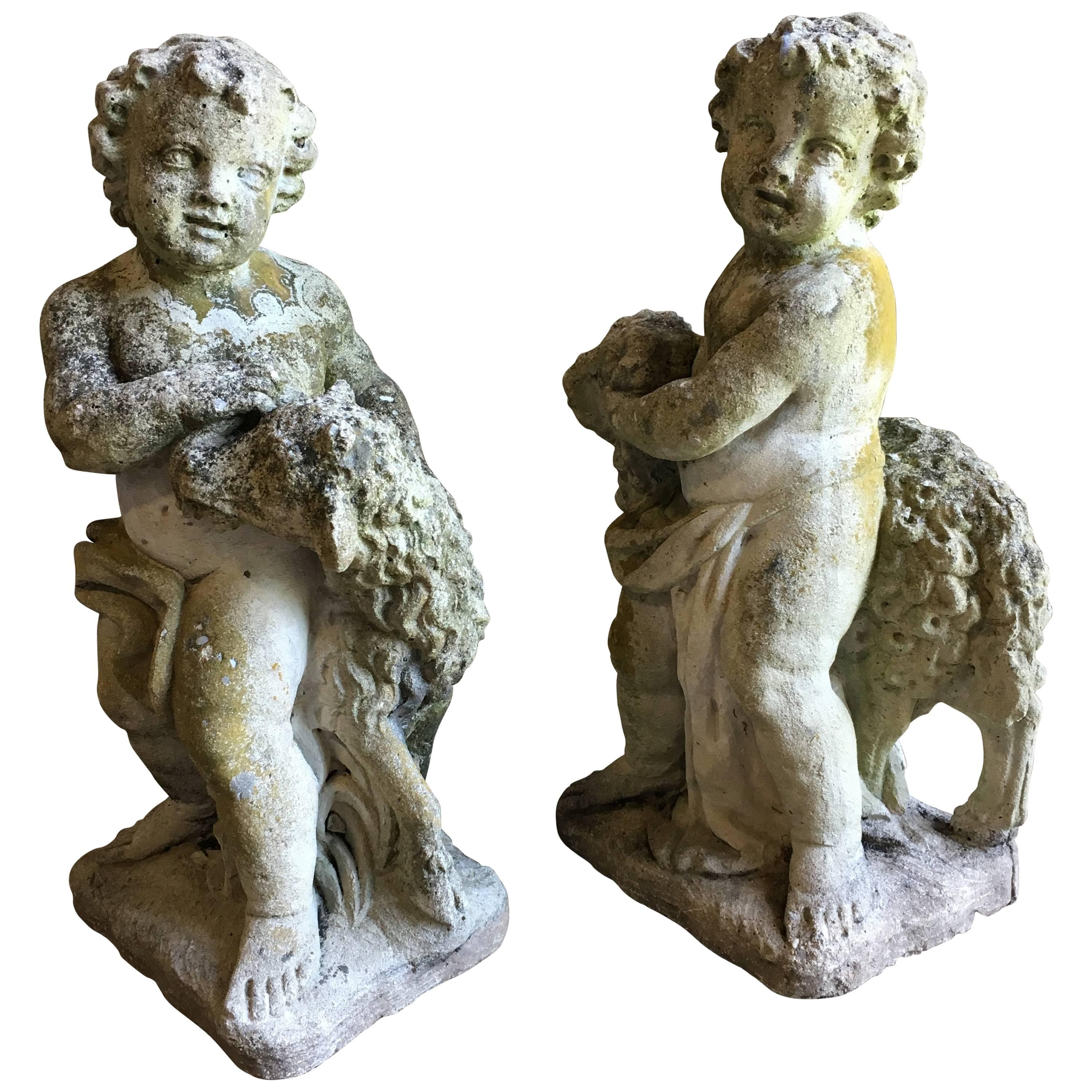 Pair Of Putti Garden Statues With Lambs