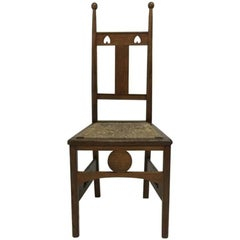 Shapland and Petter High Back Oak Side Chair with Pierced Hearts