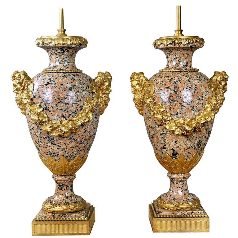 Beautiful Pair of Late 19th Century Gilt Bronze Mounted Granite Lamps