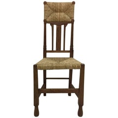 Arts & Crafts Inlaid Rush Seat and Back Chair in the Style of George Walton