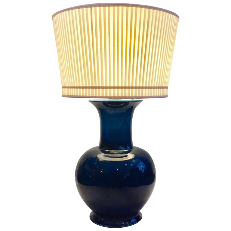 Vintage Jean Roger Blue Glazed Ceramic Lamp _SALE_ For Sale