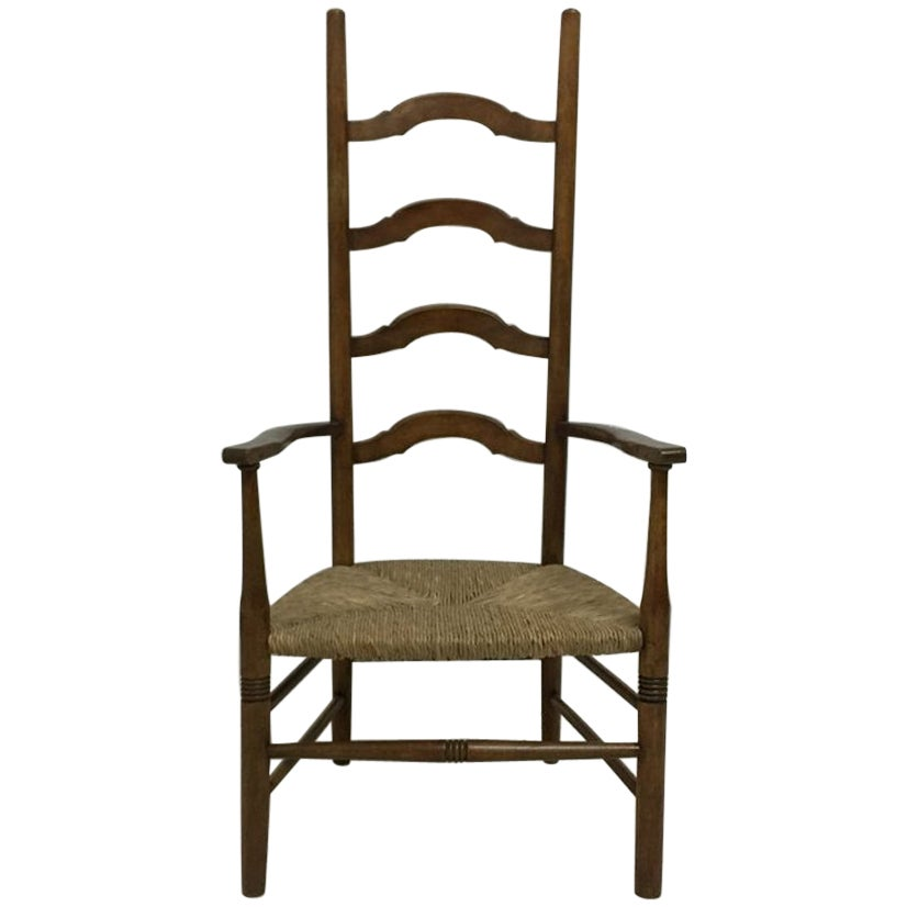 Liberty and Co., Arts & Crafts High Back Ladder Back Rush Seat Armchair