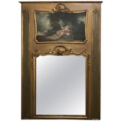 19th Century French Louis XV Painted and Gilded Trumeau
