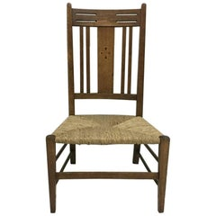 Liberty and Co, Arts & Crafts Nursing or Bedroom Chair with Inlaid Heart Details