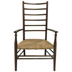Liberty & Co Arts & Crafts Low Ladder Back Armchair with Rush Seat