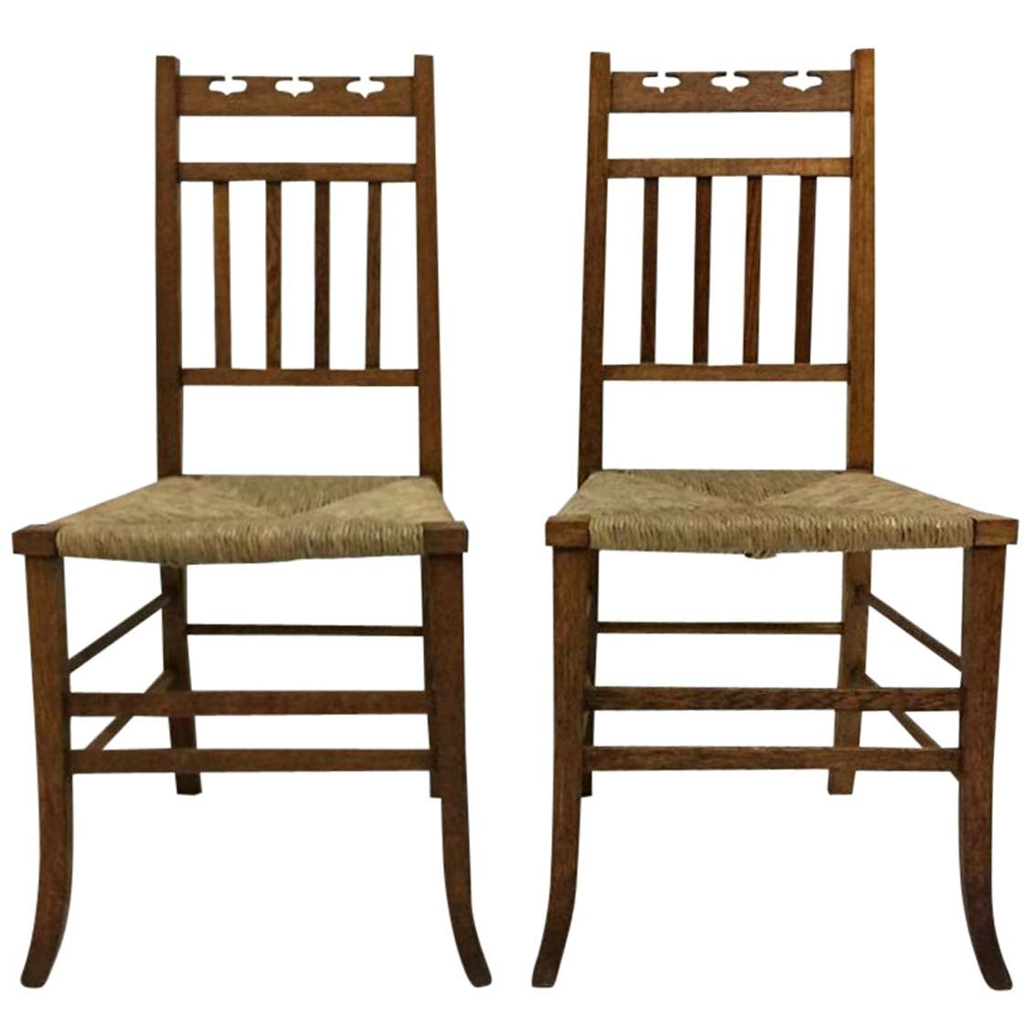 E A Taylor Attri, 7 Arts & Crafts Side or Bedroom Chairs by Wylie & Lochhead