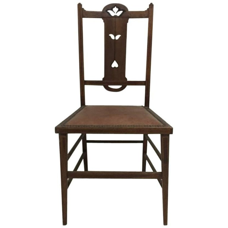 Arts & Crafts Side Chair with Ebony and Pewter Inlays, Probably, Waring & Gillow
