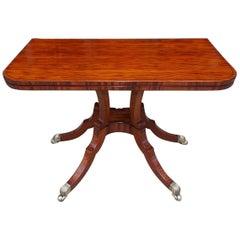 English Regency Figured Kingswood and Ebony Inlaid Hinged Game Table, C. 1810