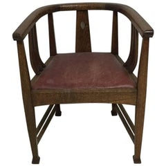 E A Taylor Attributed, a Good Stylish Arts & Crafts Oak Tub Chair