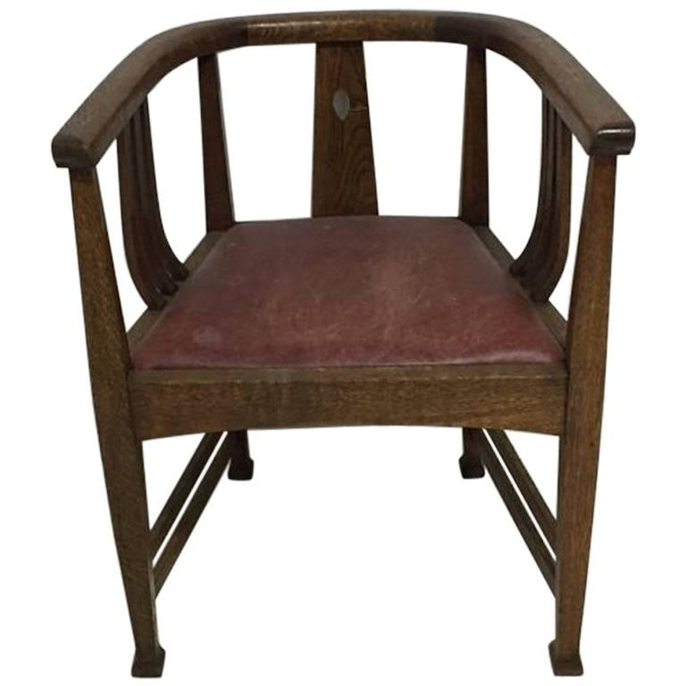 Waring and Gillows, Ten Arts and Crafts Oak Tub Chairs with Shaped ...