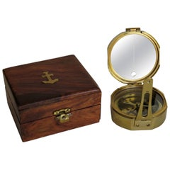 Compass by Stanley London Natural Sine Solid Brass in Teak Box, circa 1940